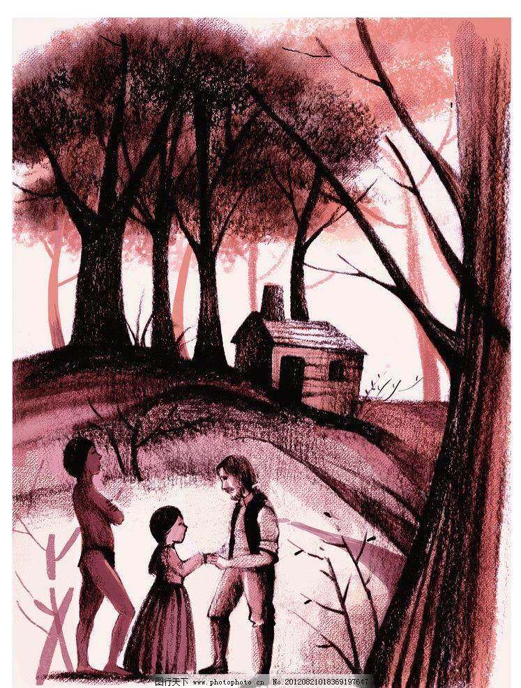 动漫 小屋 树林 少女 家人 树枝 插画 复古插画 漫画 设计 动漫人物