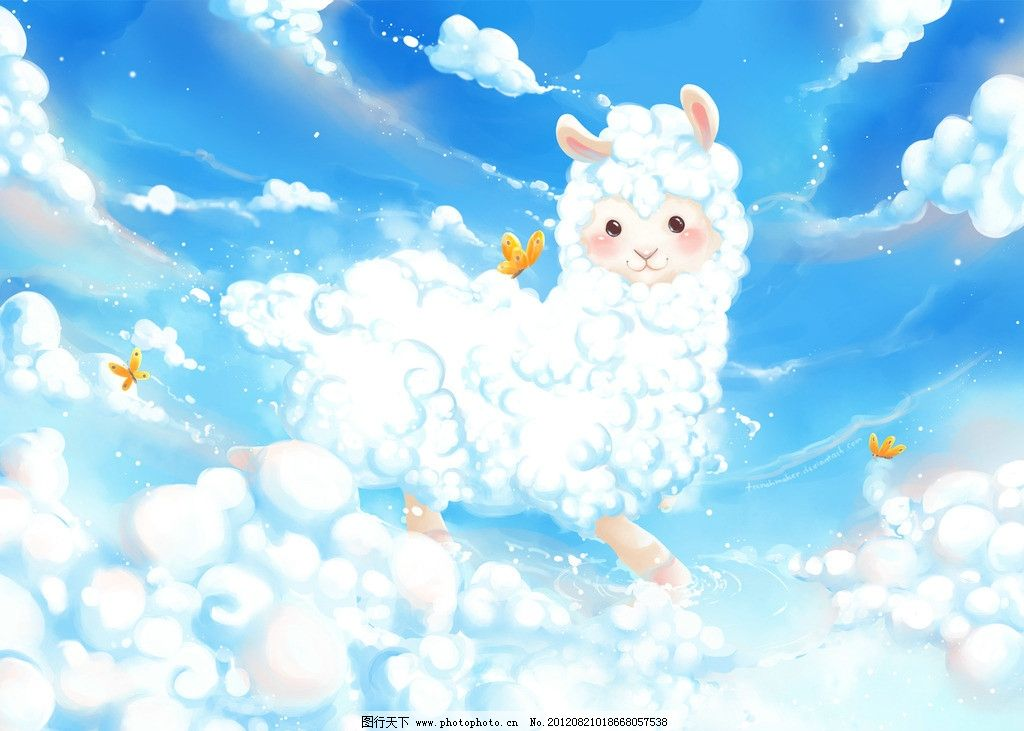 trenchmaker插画作品 动物 羊驼 天空 云 卡通 可爱