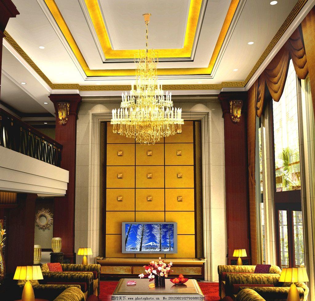 别墅客厅效果图 背景墙 欧式风格 楼梯 天花 客厅效果图 欧式客厅