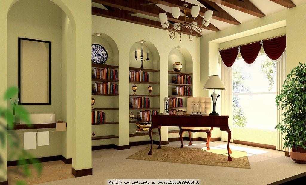 书房 装修效果图 家装 房屋 室内 房屋装修 装饰 书橱 写字台