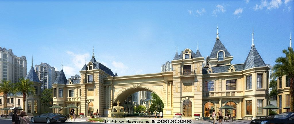 欧式古典会所入口透视图片