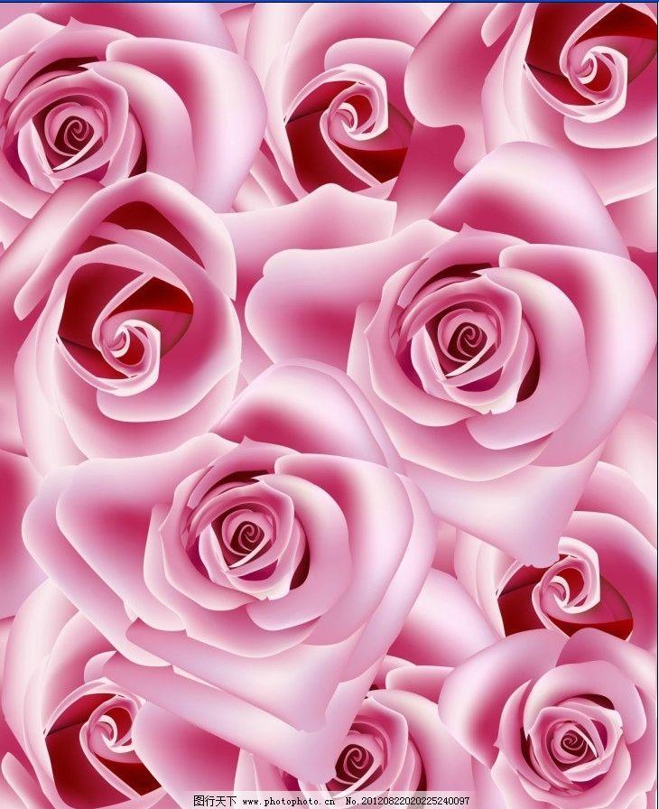 粉红玫瑰花 绘画 红色 红花 工笔画 油画 国画 艺术 移门 景色