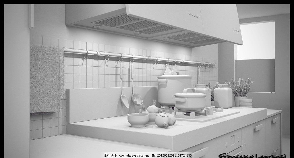 厨房效果图 锅碗瓢盆 油烟机 室内设计