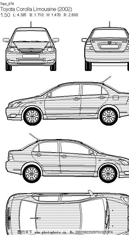 左视图 右视图 丰田系列 矢量图 汽车 现代科技 交通工具 跑车 矢量