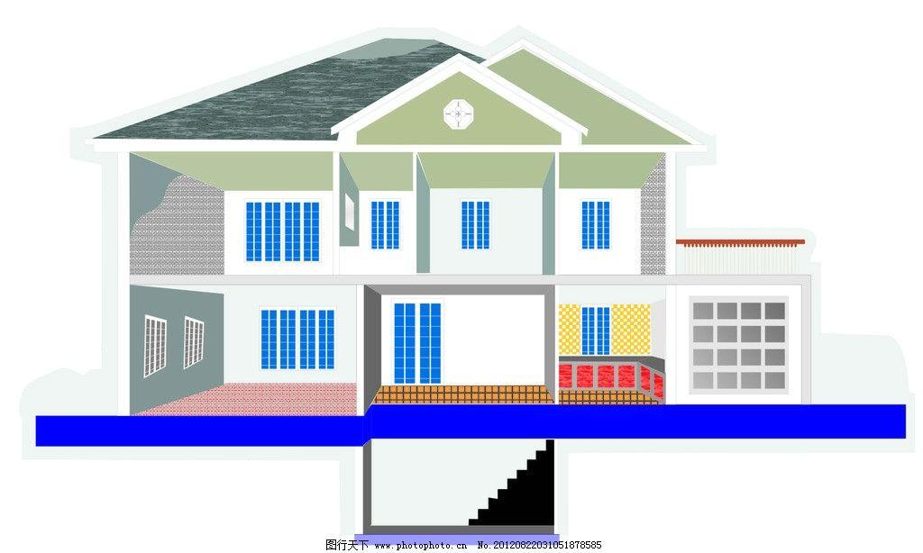 手绘房子 房子 建筑物 蓝色 黄色 黑色 现代建筑 其他设计 广告设计