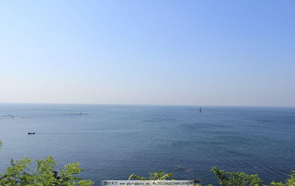 大海 背景 绿树 灯塔 自然风景
