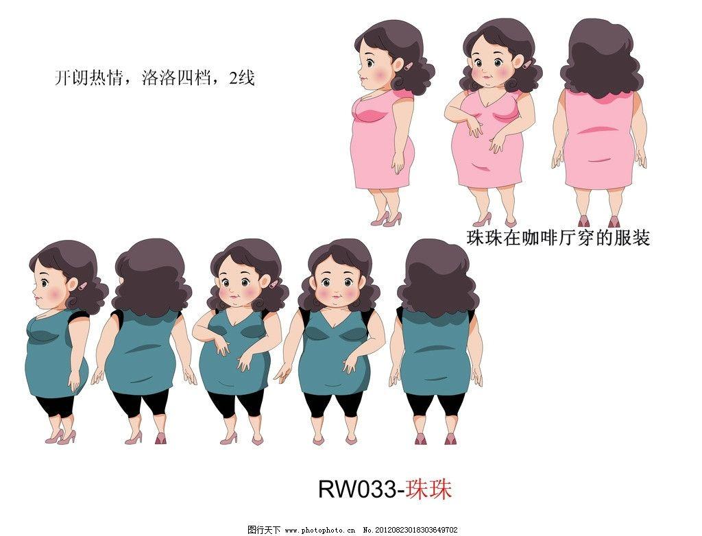 动漫人物 动漫 人物 人设 胖女人优雅装 转面 动漫动画 设计 300dpi