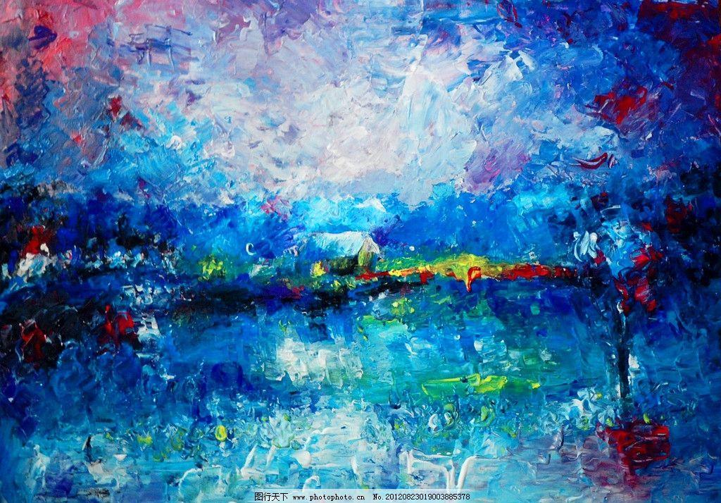 小村 村庄 村镇 蓝色夜晚 夜晚 夜景 油画夜景 西方油画 风景画 风景