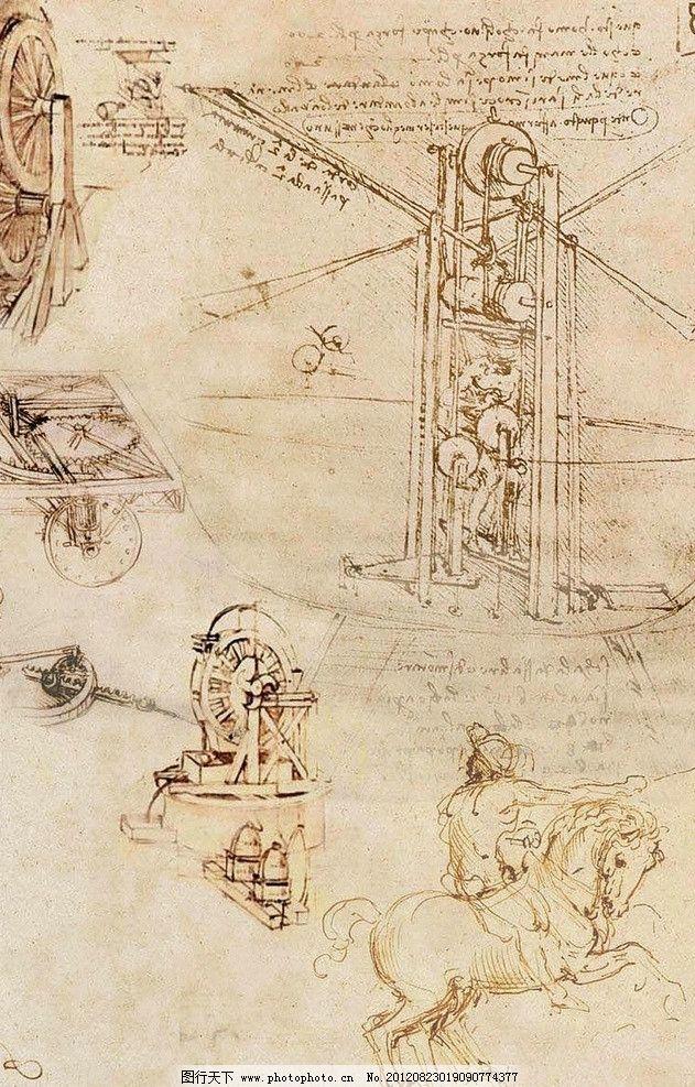 达芬奇手稿 b型钢架的画布 达芬奇 手稿 设计 源文件 绘画书法 文化艺