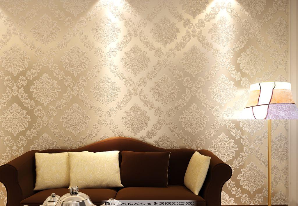 亮银米色欧式沙发背景墙纸图片