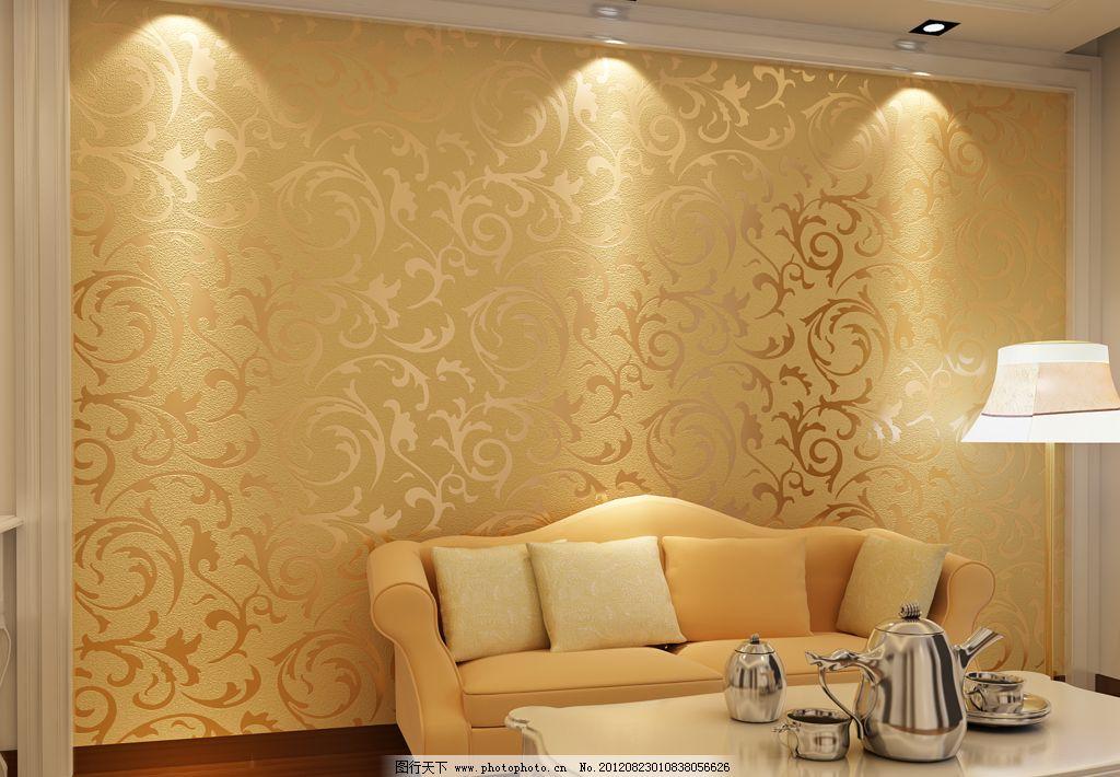 金黄欧式莨苕叶沙发背景墙纸灯光下壁纸图片