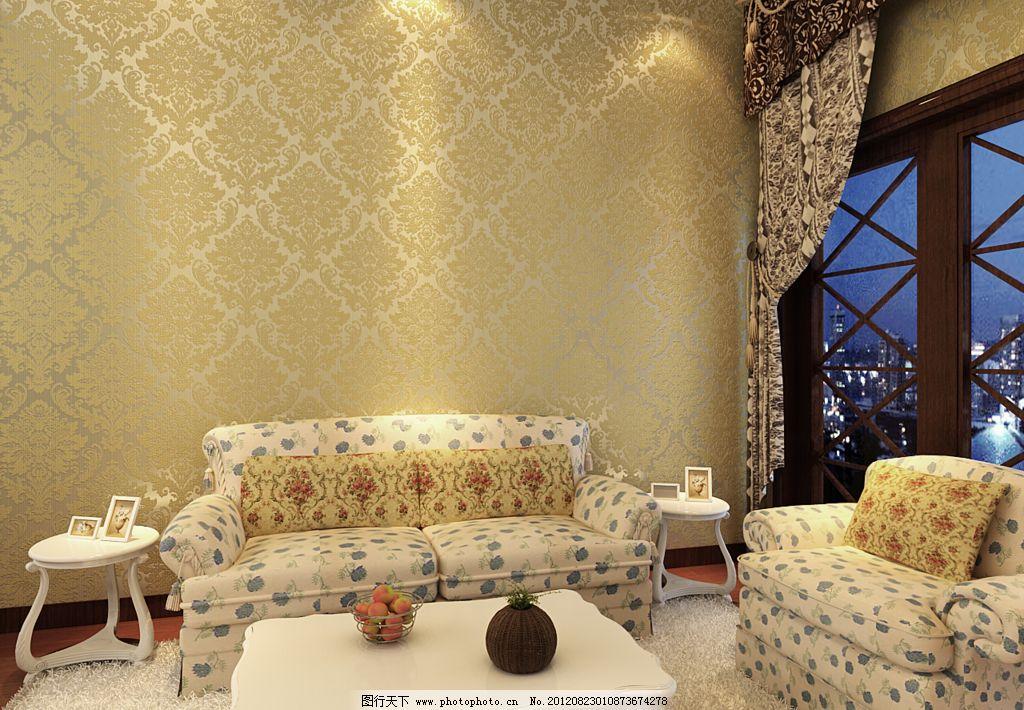 大马士革欧式古典黄沙发背景墙纸图片