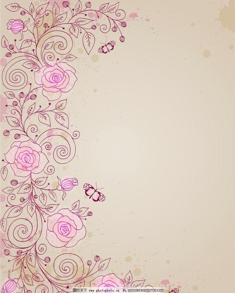 月季 玫瑰 蝴蝶 藤蔓 卡片 欧式 古典 花纹 花边 鲜花 欧式花纹 花朵