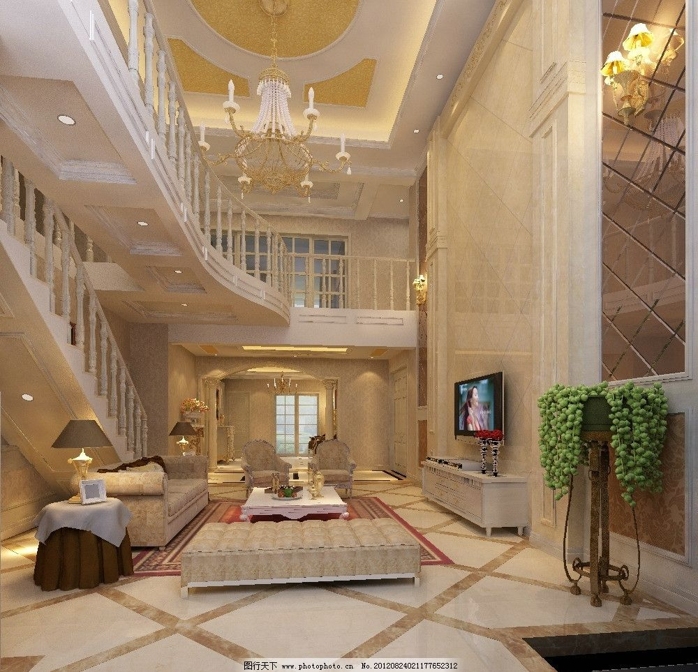 别墅客厅带欧式楼梯间3d模型图片