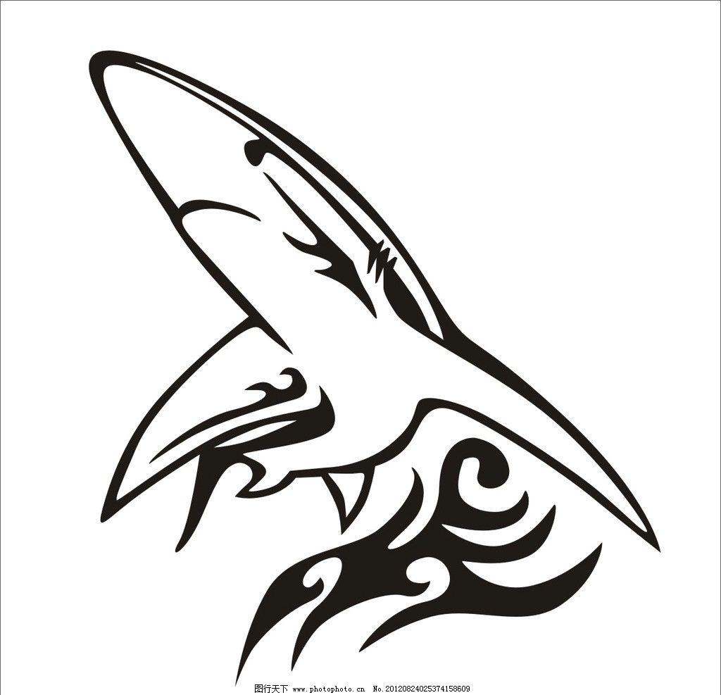 鲨鱼 黑色 线条 花纹 跳跃 海洋生物 生物世界 矢量 cdr