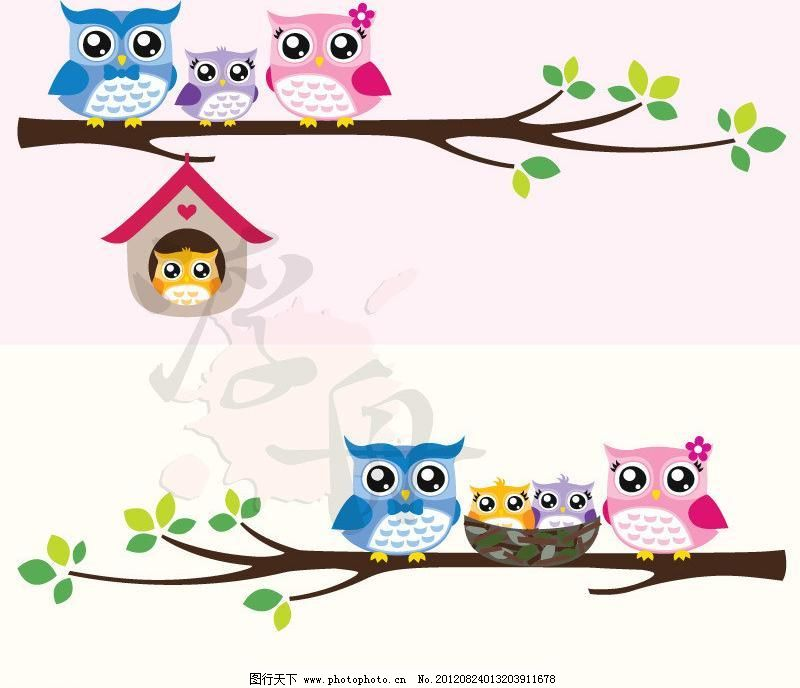 猫头鹰一家 小鸟 猫头鹰 雕 水灵灵 大眼睛 在一起 家族 可爱 手绘