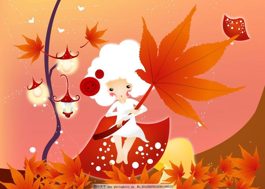 韩国可爱人物插画 韩国 插画 枫叶 纽扣女孩 红色 动漫人物 动漫动画