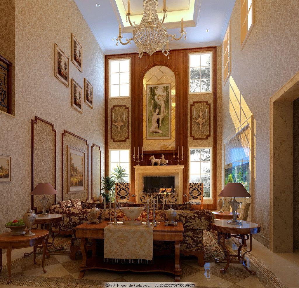 欧式 欧式客厅 沙发 茶几 地毯 壁纸 墙纸 壁画 装饰画 别墅 复试