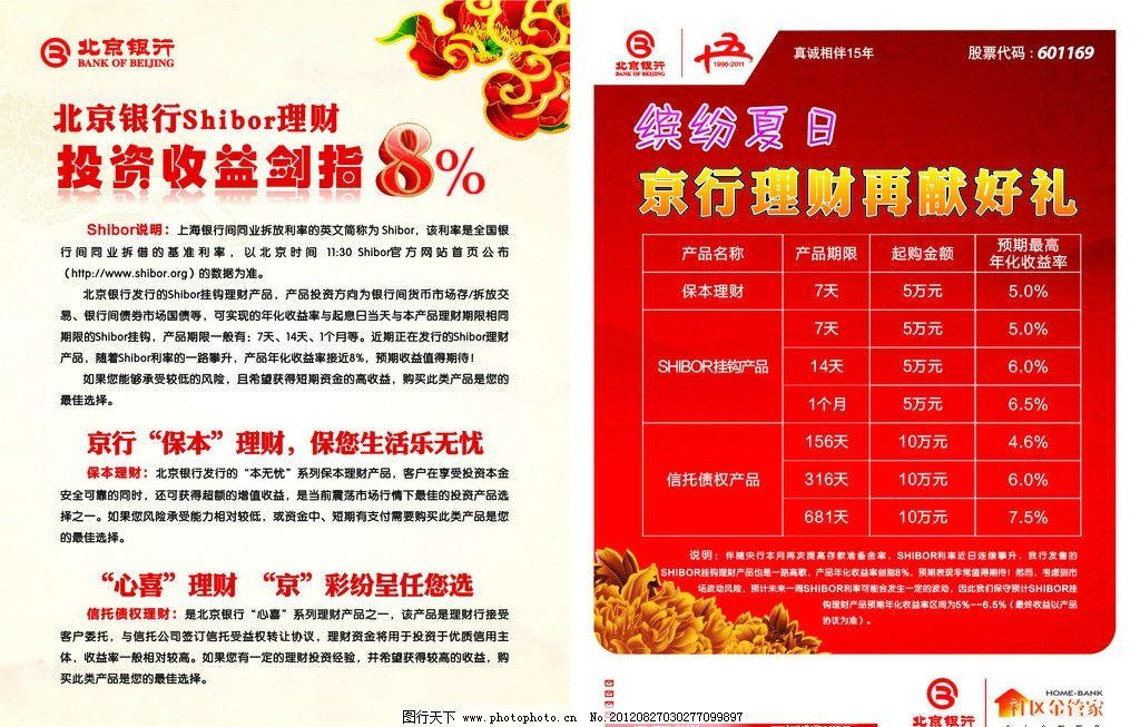 北京银行理财宣传单图片
