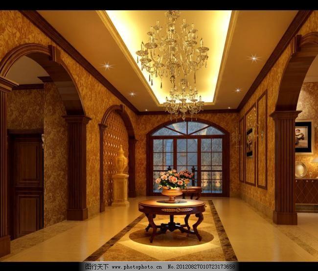 效果图 欧式 欧式走廊 茶几 大理石 壁画 装饰画 别墅 灯带 吊顶 瓷砖