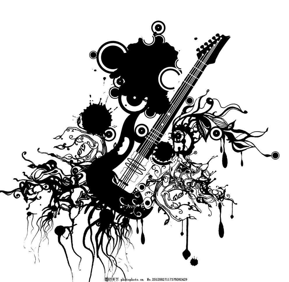 吉他 吉他矢量 吉他矢量图 吉他黑白图 吉他背景 花纹 音乐 音乐元素