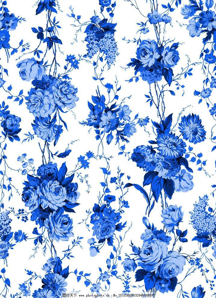 青花 青花瓷素材 底纹花纹 陶瓷花纹 陶瓷兰彩 花儿 玫瑰 背景素材