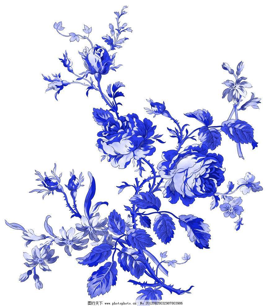 青花 青花瓷素材 底纹花纹 陶瓷花纹 陶瓷兰彩 花儿 牡丹 兰花 玫瑰