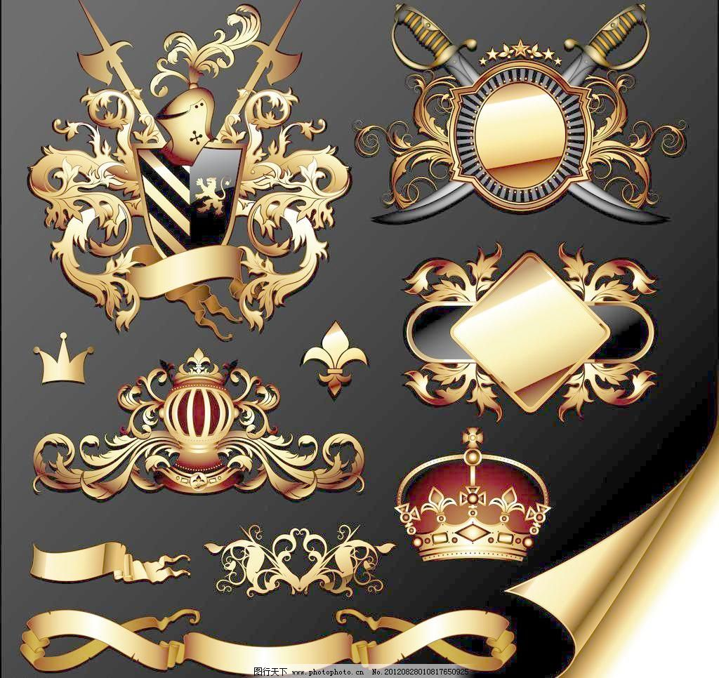 金色欧式花纹标签图片