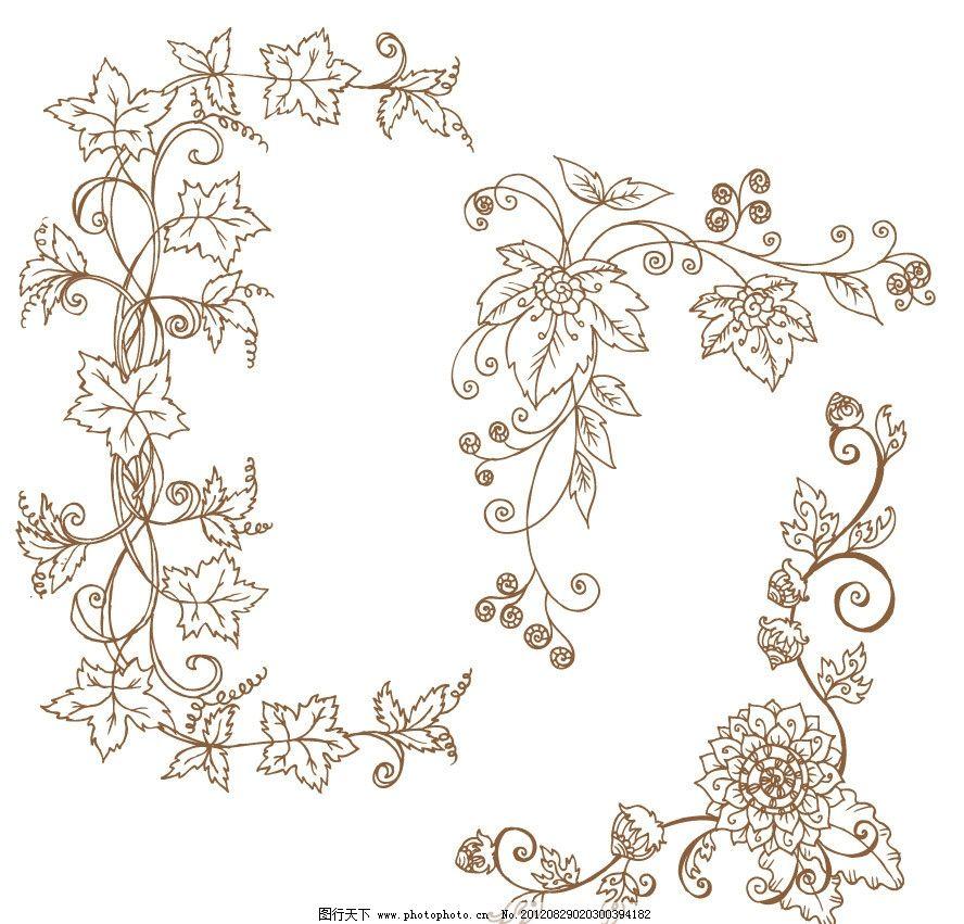 可爱 古典 欧式 时尚 角花 边角 梦幻 花纹 花朵 花卉 鲜花 蔓延 藤蔓