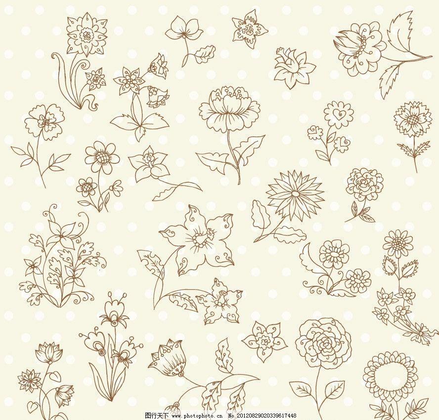 欧式 时尚 梦幻 花纹 花朵 花卉 鲜花 手绘 线条 装饰 设计 背景 矢量