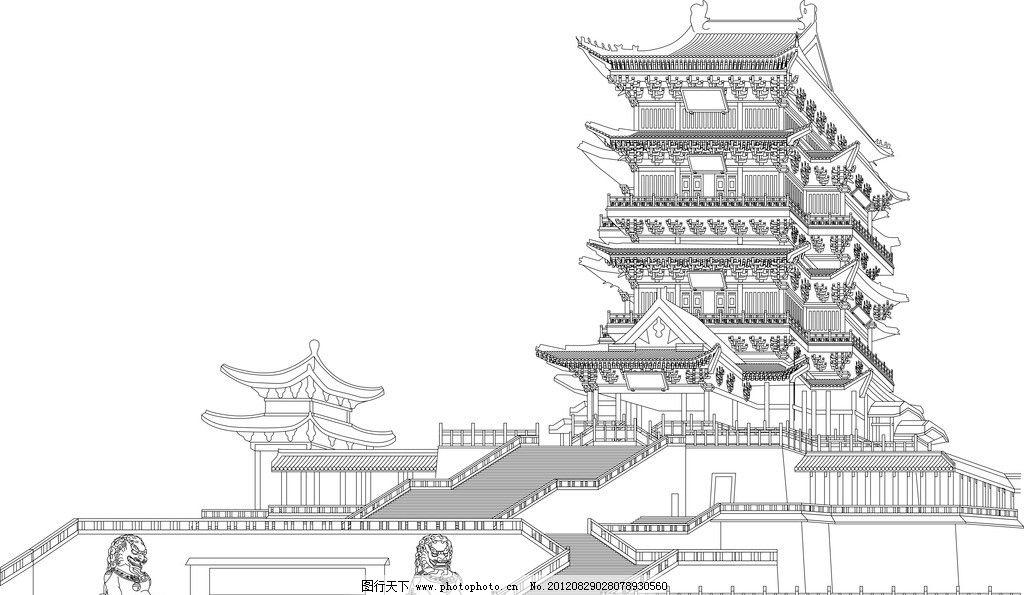 滕王阁矢量线描 古代传统建筑 建筑家居