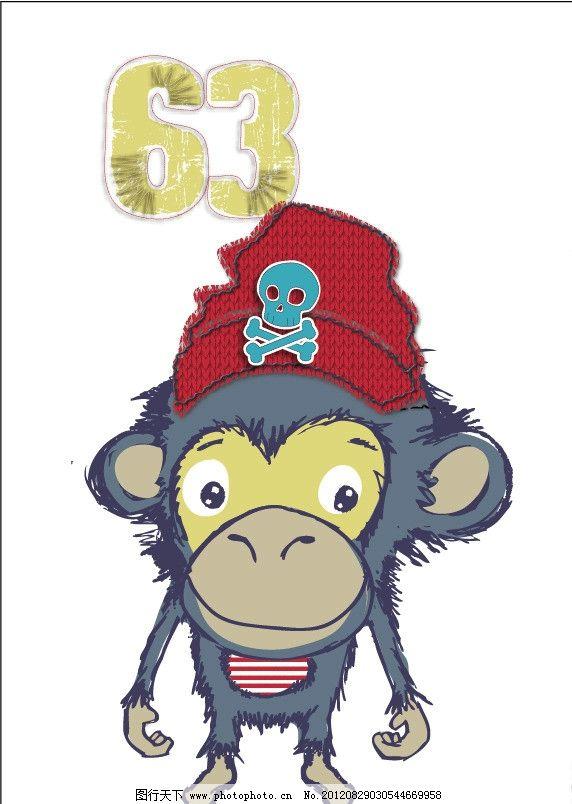 大嘴猴 猴子 可爱猴子 戴帽子的猴子 海盗 骷髅头 手绘插画 童装图案