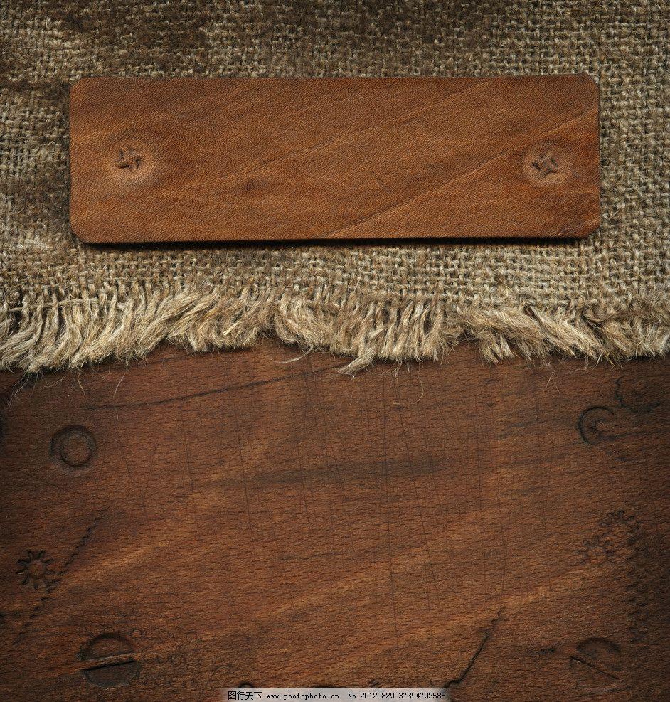 粗麻布木纹背景图片