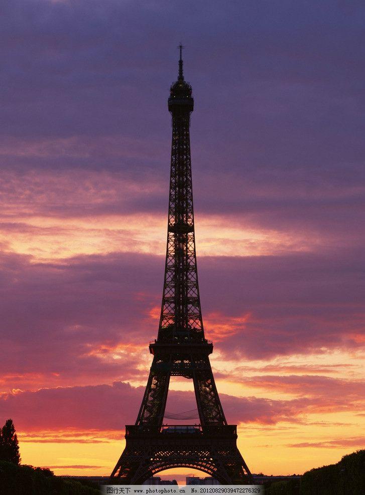 法国 铁塔 钢铁 钢构 城市 红色 埃菲尔 夜景 夕阳 晚霞 云彩 剪影
