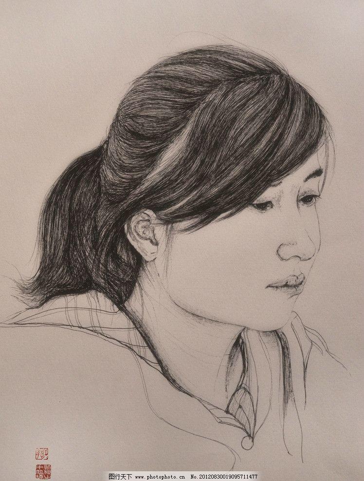 人物肖像 人物 手绘 中性笔