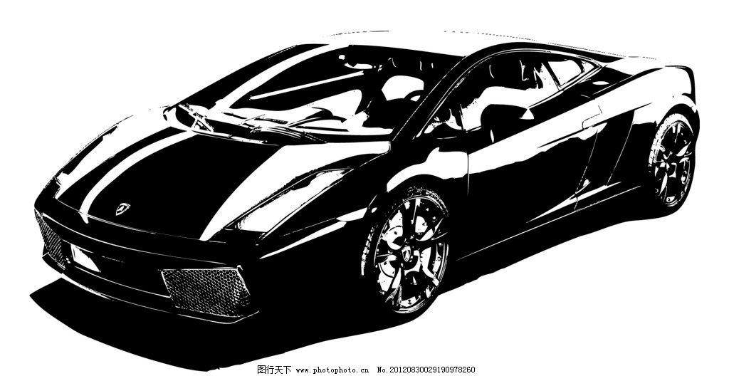 法拉利黑白线条矢量图图片