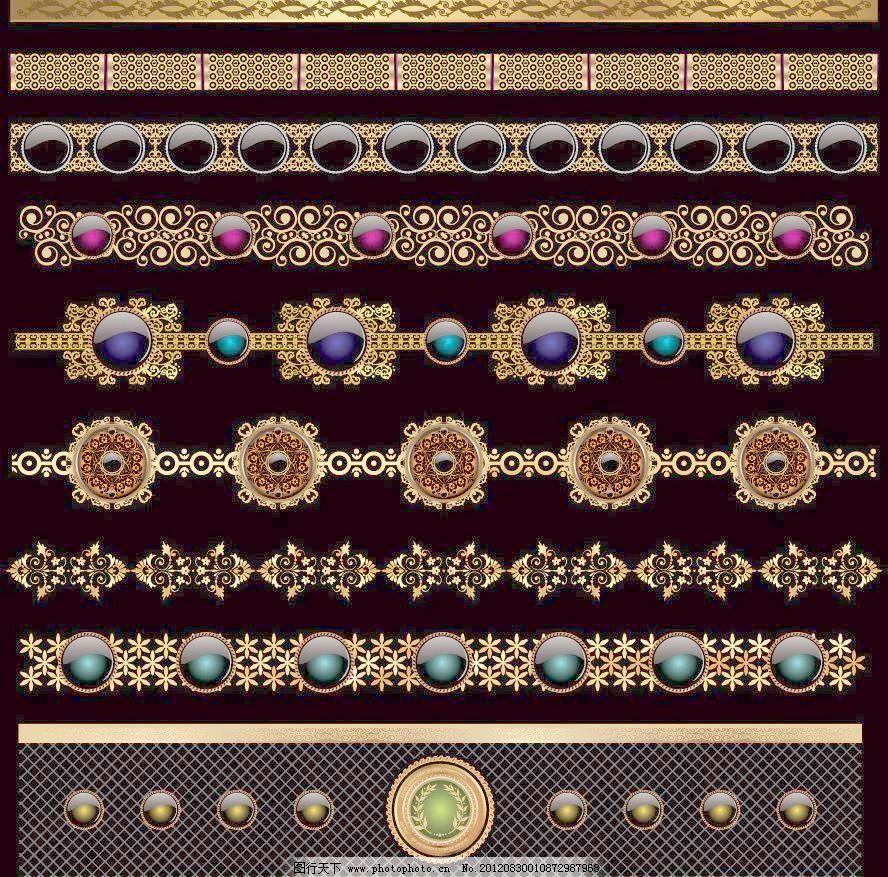 金色欧式花纹 宝石图片