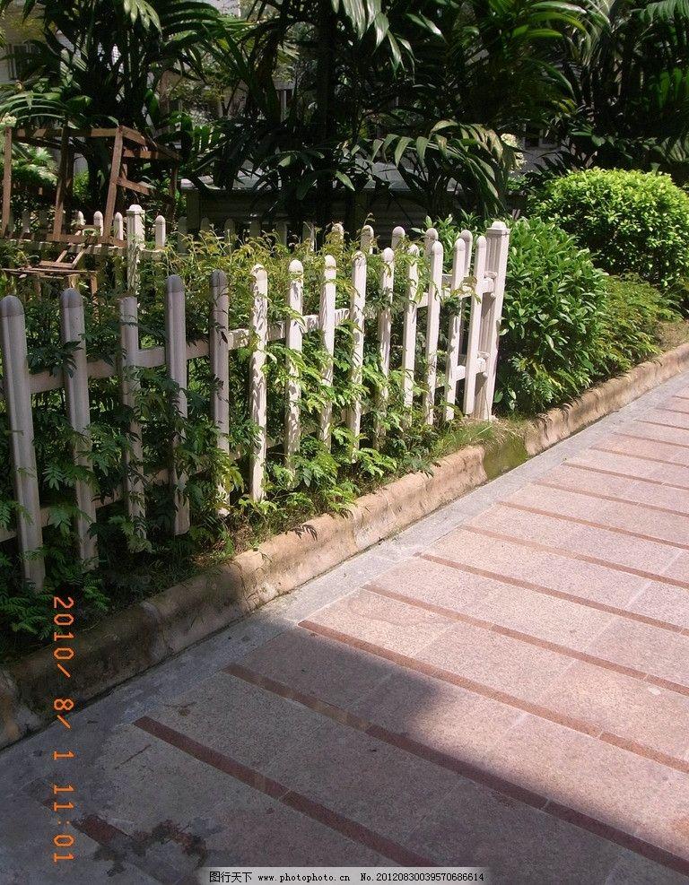 篱笆 影子 绿树 绿草 地板 风景如画 园林建筑 建筑园林 摄影 72dpi