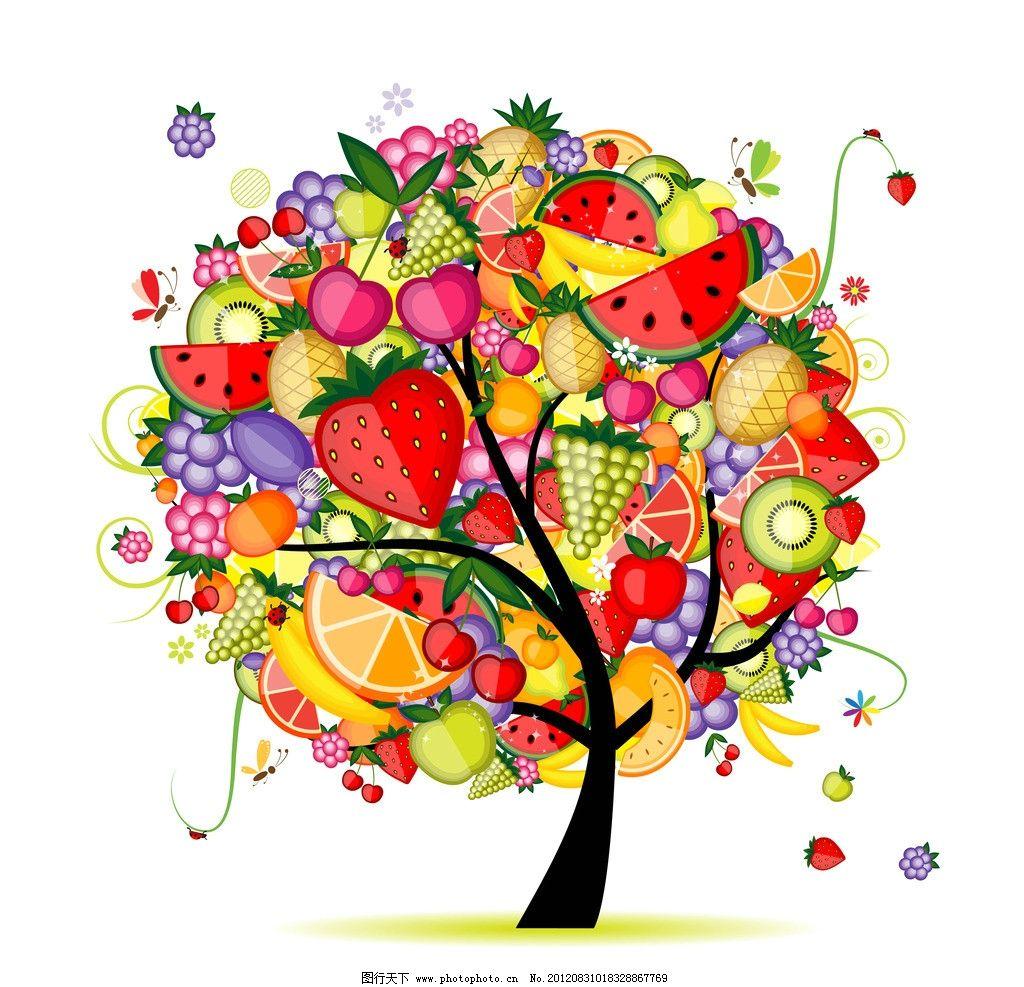 卡通水果树 卡通 水果树