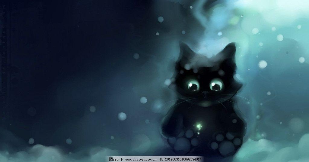 手绘猫咪 手绘 猫咪 孤单