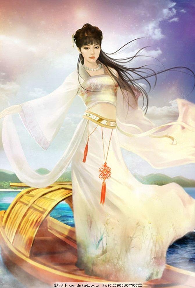 卡通古装 卡通美女 蓝天白云 海上 小船 美女乘船渡海 动漫人物 动漫