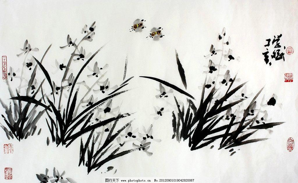 兰香蜂动 美术 中国画 水墨画 花卉画 兰花 蜜蜂 国画艺术 绘画书法