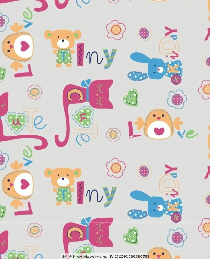 设计图库 底纹边框 背景底纹  猫咪 兔子 面料图案 可爱图案 大布图案