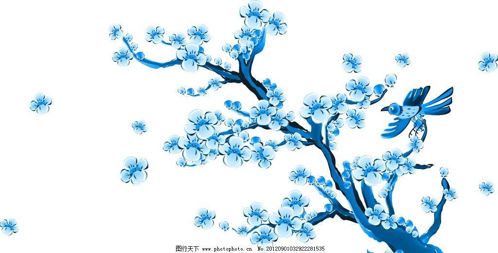 青花 青花瓷素材 底纹花纹 陶瓷花纹 陶瓷兰彩 花儿 牡丹 兰花 树技