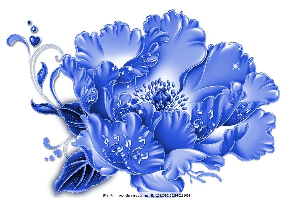 青花瓷素材图片,底纹花纹 陶瓷花纹 陶瓷兰彩 花朵-图