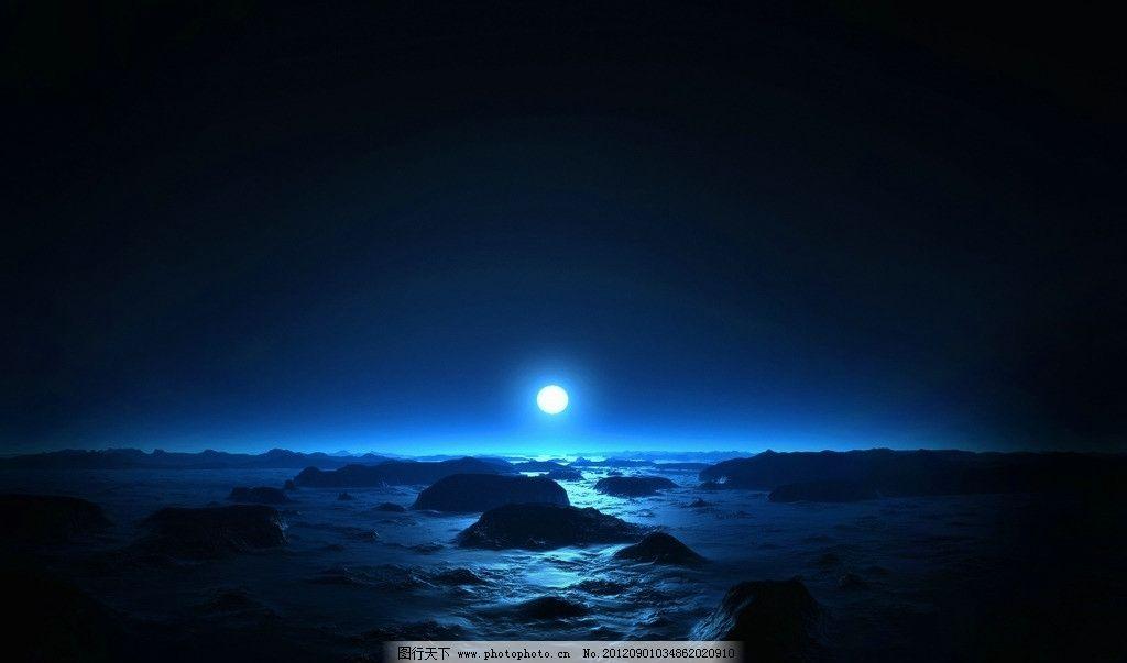 海上月光 夜晚 大海 礁石 月光 唯美 自然风景 自然景观 摄影 72dpi
