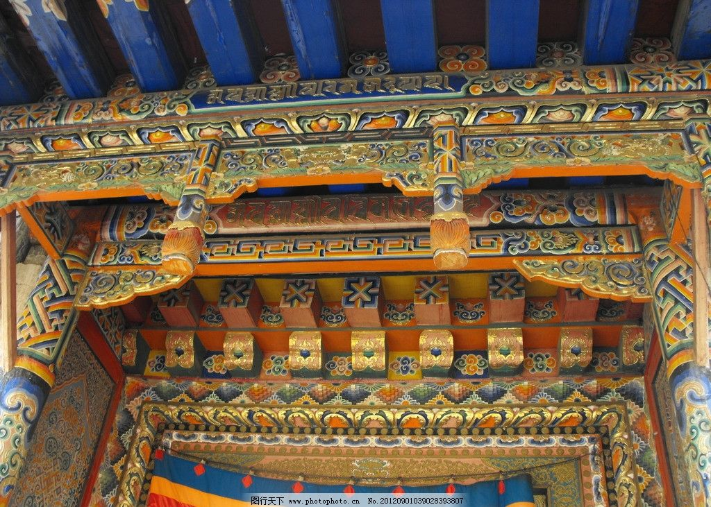 郎木寺内彩绘 古建彩绘 古建筑彩绘 庙宇彩绘 西藏寺庙彩绘 佛教建筑