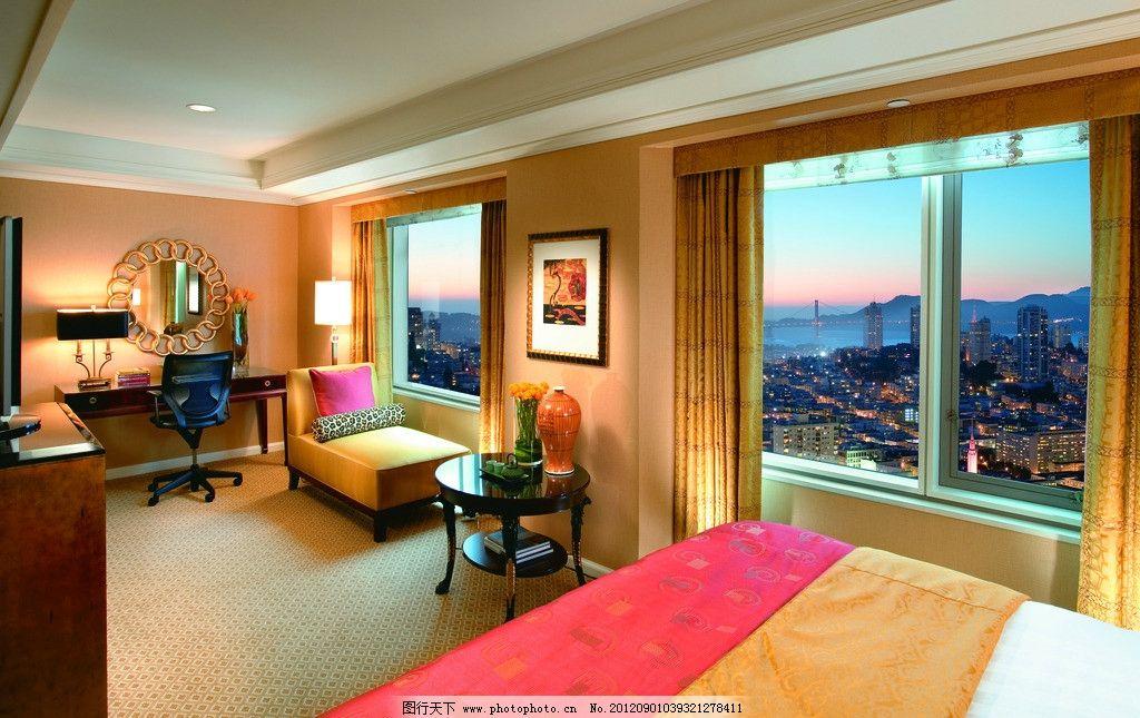 酒店包房 卧室 外景 床 窗外 窗帘 欧式 梳妆台 镜子 室内摄影