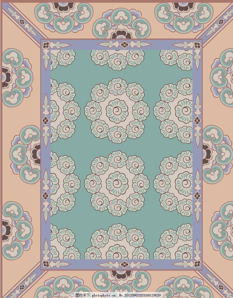 清新矢量花朵图案 花边边框,敦煌花纹 花边背景 花朵图片