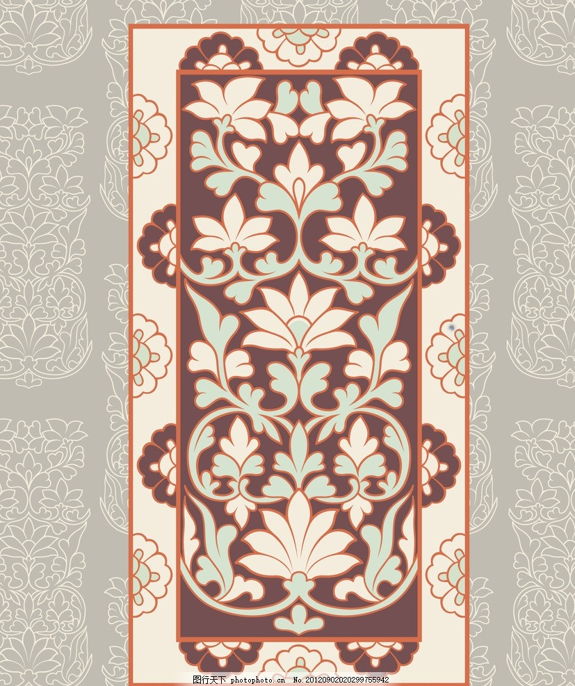 少数民族服饰图案 花边 敦煌花纹 花边背景 花朵边框 设计素材图片